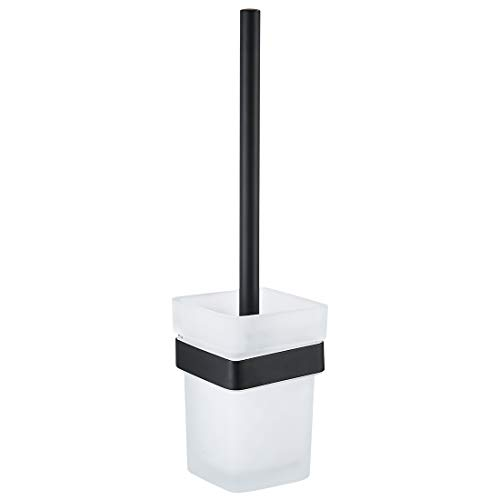 OWOFAN Bathroom Toilet Brush with Holder Set Wall Mount Black SUS304 Stainless Steel Holder Frosted Glass Cup ()