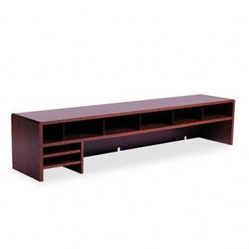 Low-Profile Desktop Organizer, 10 Sections, 57 1/2 x 12 x 12, Mahogany