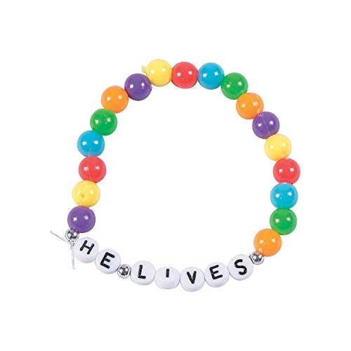 - Fun Express - He Lives Beaded Bracelet ck for Easter - Craft Kits - Kids Jewelry Craft Kits - Kids Bracelet - Easter - 12 Pieces