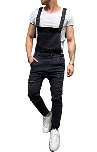 - Teetyesy Men's Slim Fit Ripped Denim Distressed Bib Overalls Jumpsuit Jeans (M, Black)