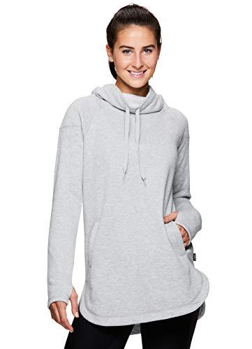 RBX Active Women's Long Sleeve Casual Cowl Neck Sweatshirt Light Grey Cowl18 S