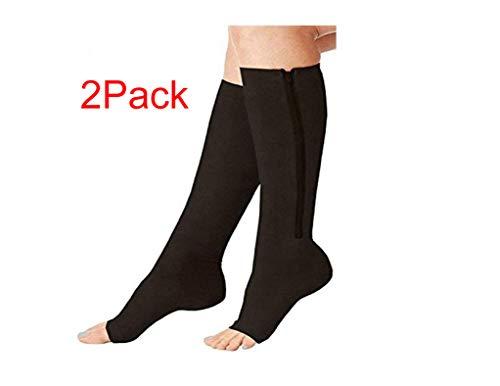 2 Pairs Compression Socks Women/Men Open Toe Leg Support Stocking Knee High Socks with Zipper 15-20 mmHg