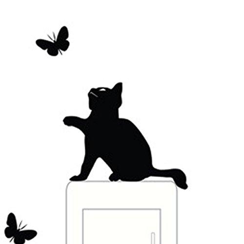 Tenworld Dog Wall Stickers Light Switch Decor Decals Art Mural Baby Nursery Room (Cat #1)