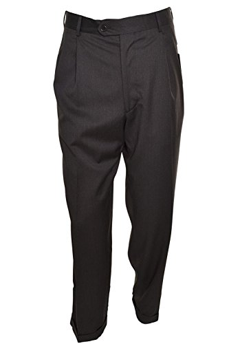 Kirkland Mens Pleated Italian Wool Dress Slacks - Brushed Black (34 x 32)