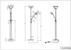 Trio Santo - Lámpara de pie con halógeno superior R7S de 230 W y en brazo lector R7S de 28W, ambos incluidos. Interruptores independientes y regulador ...