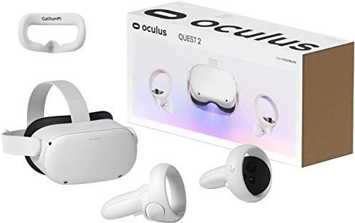 Oculus Quest 2 - Auriculares VR de 64 GB más nuevos - Auriculares para juegos de realidad virtual todo en uno avanzados con paquete de accesorios de cubierta de interfaz de silicona GalliumPi