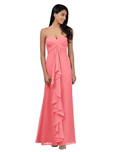 Chiffon Maxi Pink Coral Dress Formal Gown Long Alicepub Bridesmaid Dresses Prom Evening YvwUdPn
