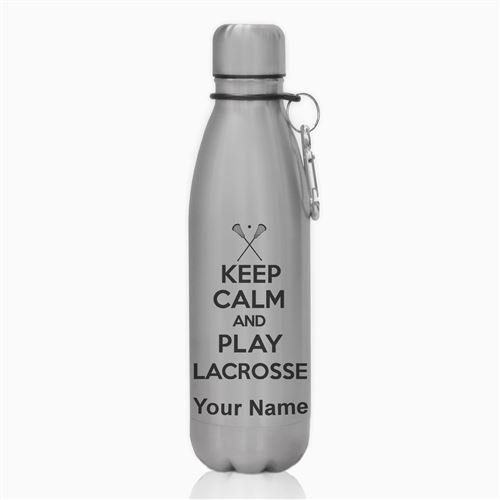 Water Bottle - Keep Calm and Play Lacrosse - Personalized Engraving Included by SkunkWerkz