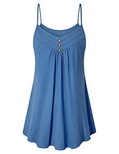 Mini Pleat - Viracy Tanks for Women, Misses Tank Dress Casual Summer Shirt Pleat Bust Mini Dress Fashion 2019 Prime Flare Fit Stylish Spaghetti Strap Camisoles Comfy Tunic Tops for Leggings Light Blue XLarge