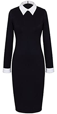 HOMEYEE Women's Celebrity Turn Down Collar Business Bodycon Dresses