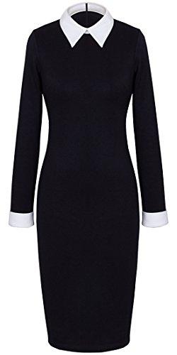 HOMEYEE Womens Celebrity Turn Down Collar Business Bodycon Dresses