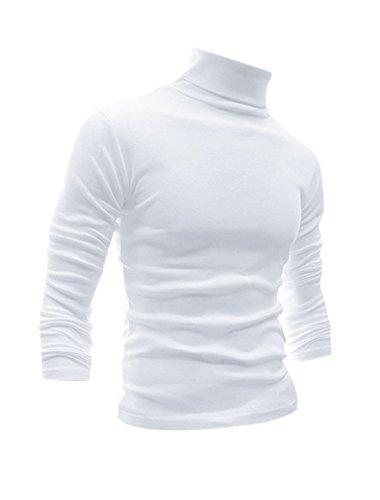Men Slim Fit Lightweight Long Sleeve Pullover Top Turtleneck T-Shirt (White, L) ()