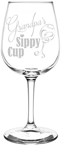 (Grandpa) Funny Sippy Cup Novelty Present & Gift Idea Inspired - Laser Engraved 12.75oz Libbey All-Purpose Wine Taster Glass
