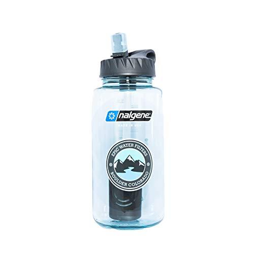 Epic Nalgene OG | Water Filtration Bottle | Wide Mouth 32 oz | American Made Bottle | USA Made Filter Removes 99.99% of Tap Water Contaminants Lead Chlorine Chromium 6 Arsenic Chloroform (Seafoam)