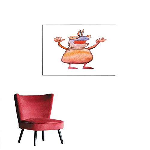 homehot Mural Decoration Watercolor Illustration of Cartoon Monster Frightening Shouting Swinging arms Mural 20