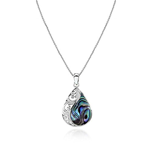 (GemStar USA Sterling Silver Abalone Filigree Teardrop Pendant Necklace)