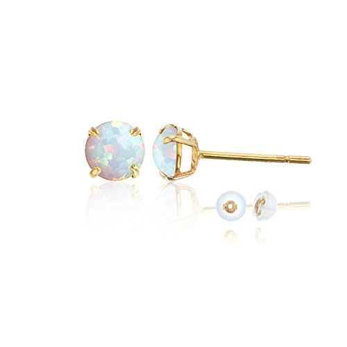 10K Yellow Gold 4mm Round Opal Stud (18ct Yellow Gold Opal Earrings)