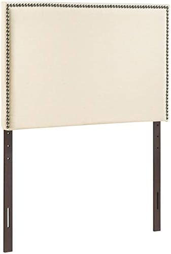 Hawthorne Collections Upholstered Twin Panel Headboard in Ivory