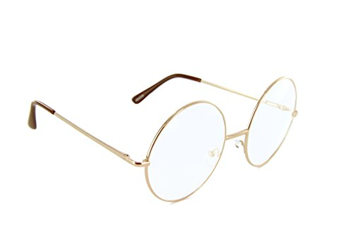 Oversized Circle Round Glasses Metal Frame Harry Porter Style (Gold, - Glasses Nerd Round