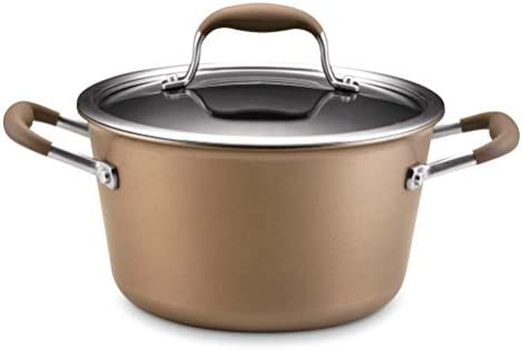 Anolon Advanced Bronze Hard-Anodized Nonstick 4.5-Quart Covered Tapered Stockpot