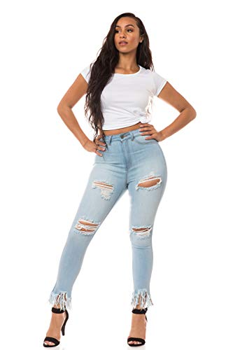 Aphrodite High Waisted Jeans for Women - High Rise Skinny Womens Hand Sanding Distressed Ripped Frayed Ankle Jeans 4433 Light Blue 15 ()