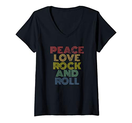 Womens Peace Love Rock And Roll distressed rock concert 70s 80s V-Neck T-Shirt