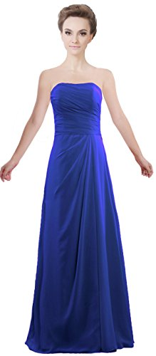 Women's Royal Blue Chiffon Wedding Gown Bridesmaid ANTS Strapless Long Dresses Evening TqdSdaw