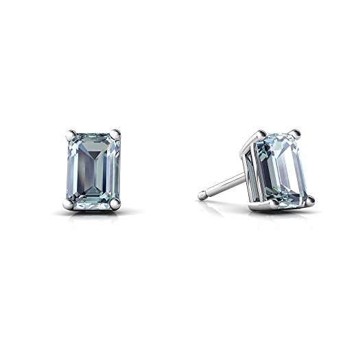 6x4 14kt Gold Emerald (14kt White Gold Aquamarine 6x4mm Emerald_Cut Emerald-Cut Stud Earrings)