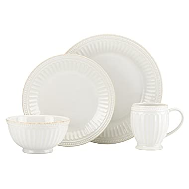 Lenox French Perle Groove 4 Piece Place Setting, White