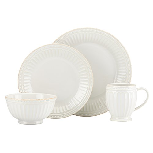 Lenox French Perle Groove 4 Piece Place Setting, White (Groove Set)