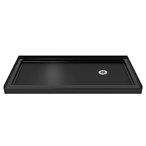 DreamLine SlimLine 36 in. D x 60 in. W x 2 3/4 in. H Right Drain Single Threshold Shower Base in Black by DreamLine