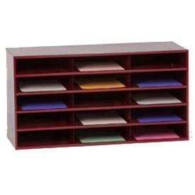 Durham Steel Literature Organizer - 33-3/4 X11-5/8 X17-3/4'' - 15 Compartments - Black - Black