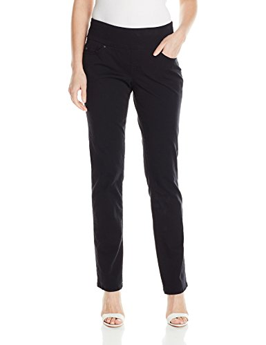 Jag Jeans Women's Peri Straight Pull on Jean, Black Twill, 12