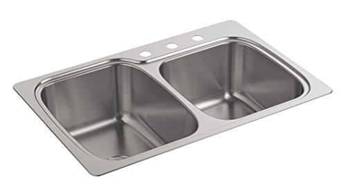 Kohler K-75791-3-NA Verse Top-/Under-Mount Large/Medium Double-Bowl Kitchen - Sink Under Kitchen Mount Double
