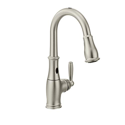 Moen 7185ESRS Brantford Motionsense Two-Sensor Touchless One-Handle High Arc Pulldown Kitchen Faucet...
