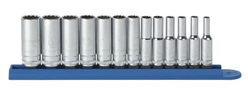 GEARWRENCH 80308 13 Piece 1/4-Inch Drive 12 Point Deep Metric Socket Set