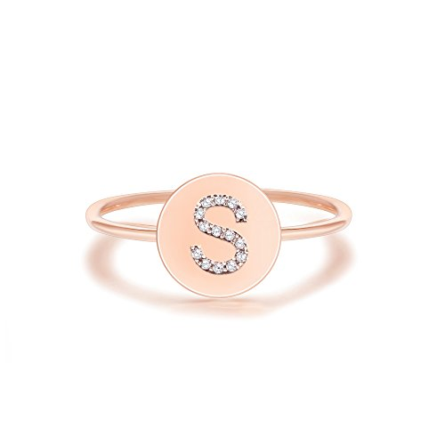 PAVOI 14K Rose Gold Plated Initial Ring Stackable Rings for Women | Fashion Rings - S Ring