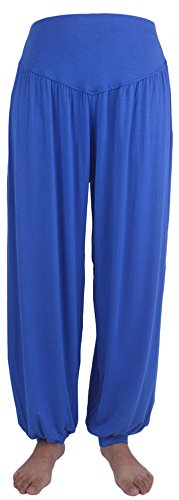 AvaCostume Womens Modal Cotton Soft Yoga Sports Dance Harem Pants, S, Blue