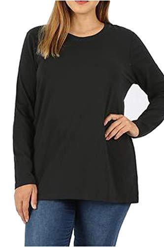 ze Loose Fit Crew Neck Cotton Blend Essential Long Sleeve T-Shirt Top ()