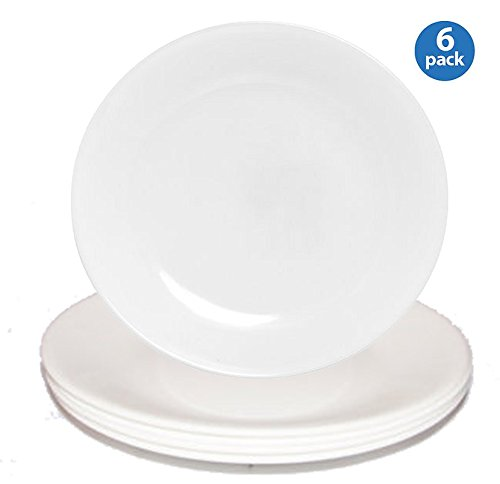Corelle Livingware Luncheon Plate, Winter Frost White, Size: 8-1/2-inch (6 Pack, White)
