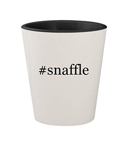- #snaffle - Ceramic Hashtag White Outer & Black Inner 1.5oz Shot Glass