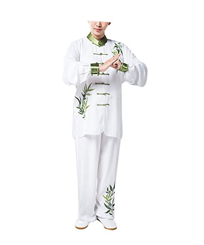 KIKIGOAL Unisex Breathable Chinese Traditional Tai Chi Uniforms Kung Fu Clothing Martial Arts Wear - Kung Uniform Fu White Button