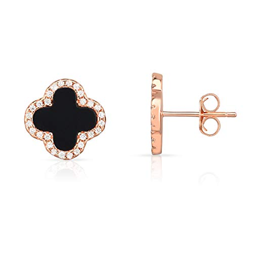 Sterling Silver Black Onyx And Cubic Zirconia Four Leaf Clover Post Earrings. (14K Rose Gold -