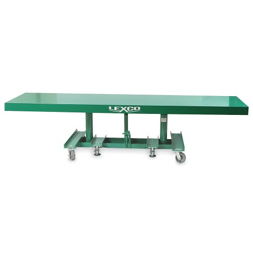 Wesco-Industrial-Products-492128-Lexco-Long-Deck-Hydraulic-Foot-Operated-Lift-Table-2000-lb-Load-Capacity-5-x-30-Tabletop-48-Height