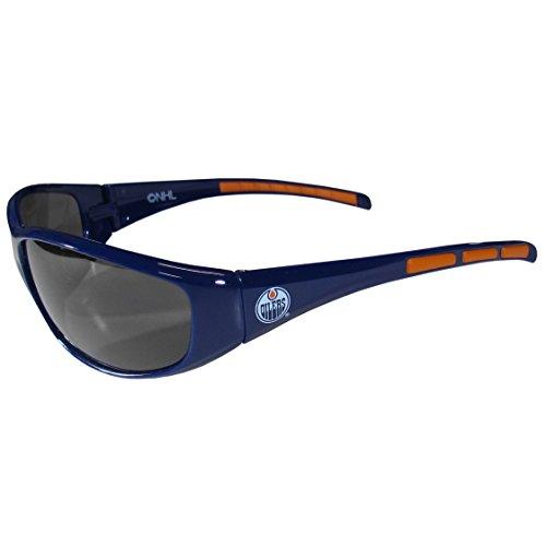NHL Edmonton Oilers Wrap Sunglasses, Navy Blue, - Sunglasses Edmonton