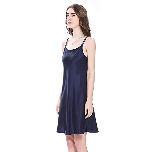 Adorable Verano Para De Noche Pijama Blau Seda Navy Mini Vestido Corto Calzado Vintage Camisón Mujer Cálido IBOxX4dn4