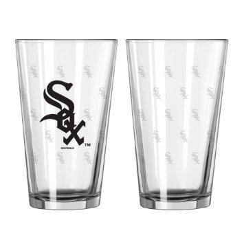 [Chicago White Sox Satin Etch Pint Glass Set] (Sox 16 Ounce Satin)