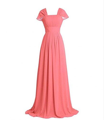 Bridesmaid Long Coral Women's Beauty Prom Dresses Cap Sleeve AK Gown Chiffon w8AOv7OEq