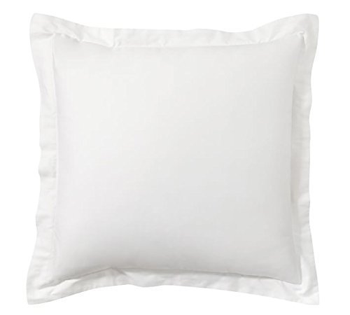 Om Bedding White Pillow Shams Set of 2 - Luxury 550 Thread Count 100% Egyptian Cotton Cushion Cover Euro Size Decorative Pillow Cover Tailored Poplin European Pillow Sham (Euro 24'' (Cotton Egyptian Cotton Decorative Pillow)