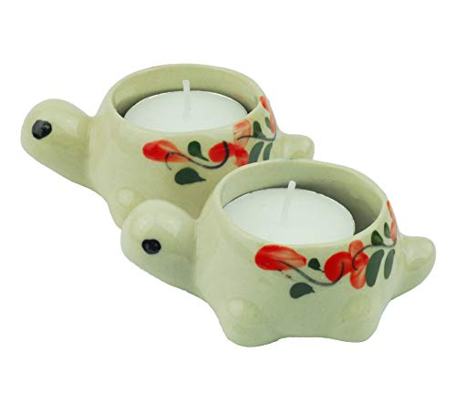 Tom Barrington Tea Light Candles in Ceramic Hand Painted Turtle Shaped Tea Light Candle Holders, Reuseable, Pack of 2 (Barrington Light 2)